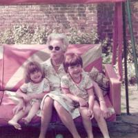 Eunice Fox (a customer) - her grandmother with grandchildren (the swing seat was bought in 1936 as a wedding present!)  - (1977)