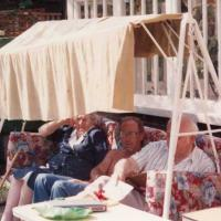 Elizabeths father, Roddy and her grandmother (Granny Scriv) on the Idler swingseat (1984)