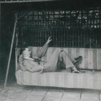 Vernon Yorke on a vintage swing seat (1930)
