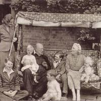 Winston Churchill and family on the family swingseat - Chartwell, Kent (1951)