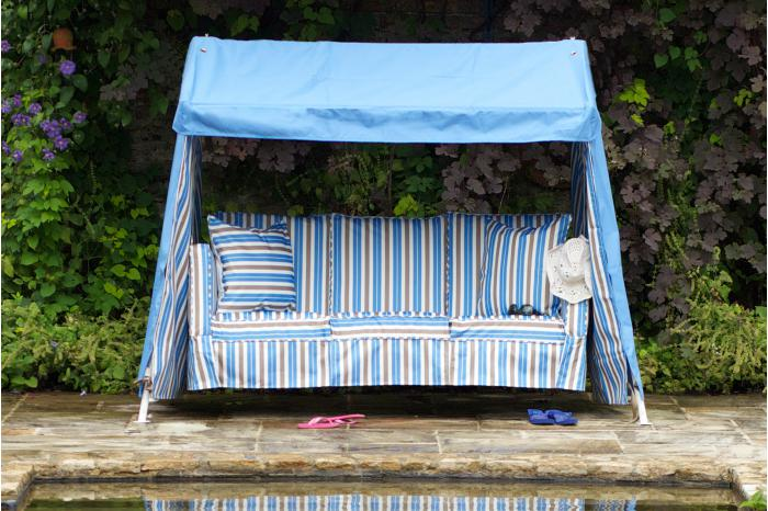 Blue & Blue Brown Stripe Idler Garden Swing Seat
